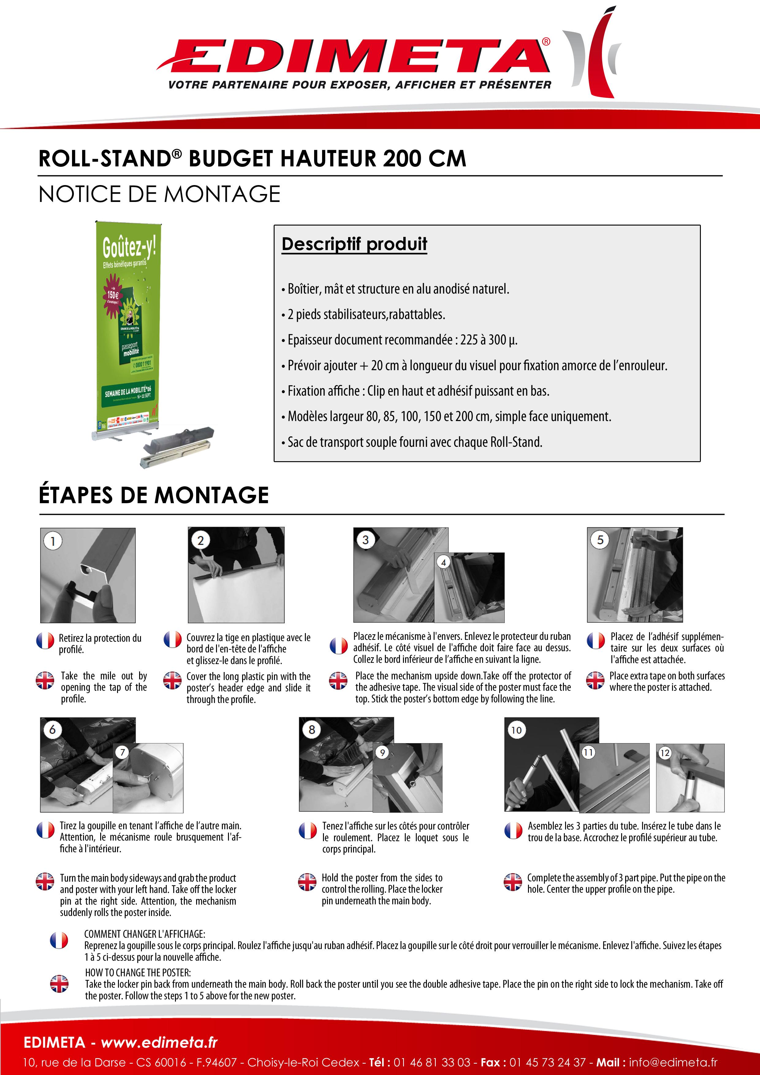 NOTICE DE MONTAGE : ROLL-STAND BUDGET HAUTEUR 200 CM