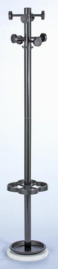 Höhe 1700 mm, Ø 300 mmStandrohr aus Stahl, Ø ca. 50 mm. Schirmhalter und Tropfschale aus Kunststoff. 8 schwarze Hakenknö