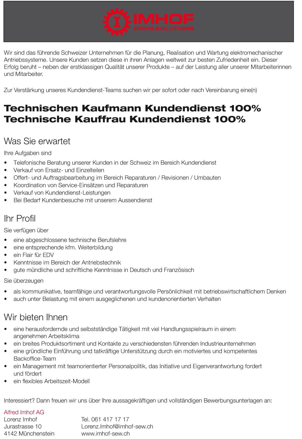 Mitarbeiter gesucht: Technischer Kaufmann / Technische Kauffrau Kundendienst 100%