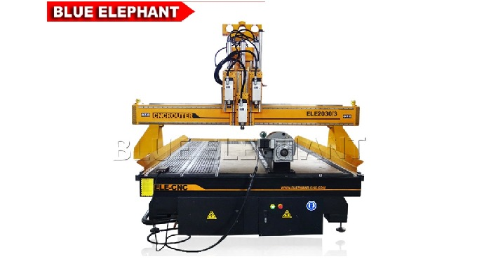 Features: 1. Like 1530 Pneumatic System 3 Spindles CNC Router, the machine was designed with rotary device to engrave bo