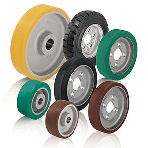 Antriebsräder und Anflanschräder mit Polyurethan-Laufbelag bzw. Gummireifen. Der Laufbelag / Reifen ist je nach Rad-Seri