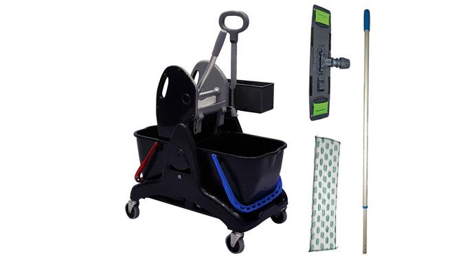 Accessoires inclus: Support Frange microfibre Manche télescopique Presse à plat