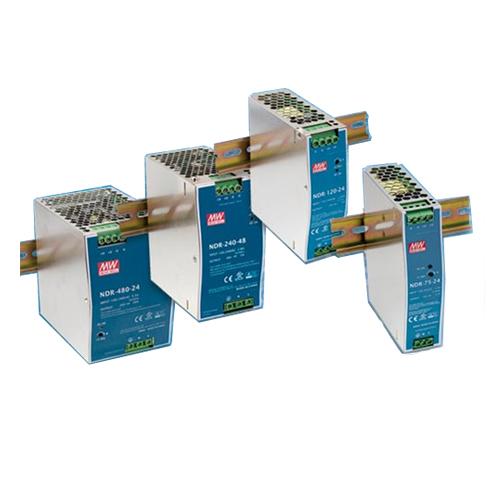 Eignung: Schmale und effiziente Schaltnetzteile für DIN-Montage der NDR Serie mit 75-480 Watt bei Intronic AG.Die schma