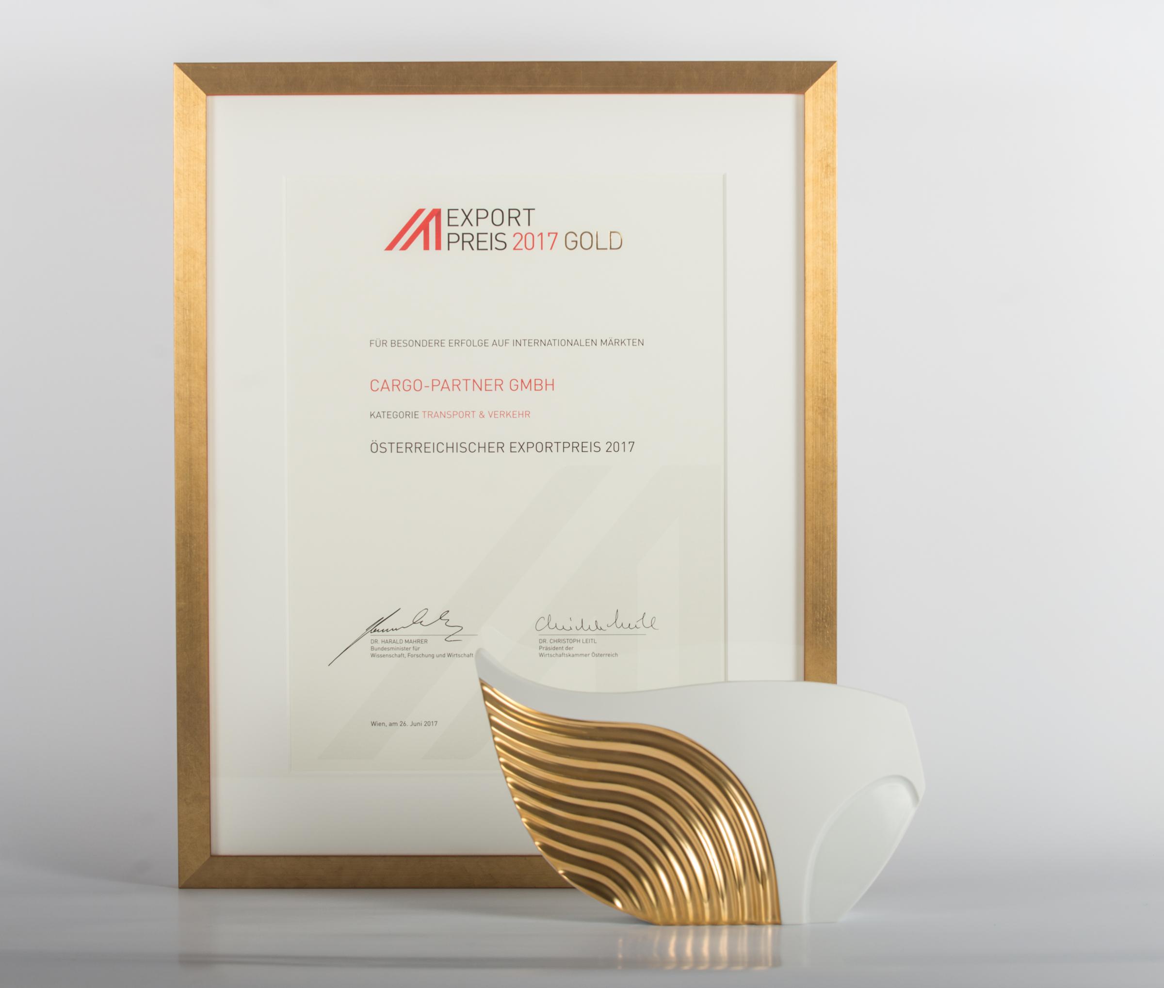 Společnost cargo-partner obdržela prestižní cenu Export Award 2017 GOLD