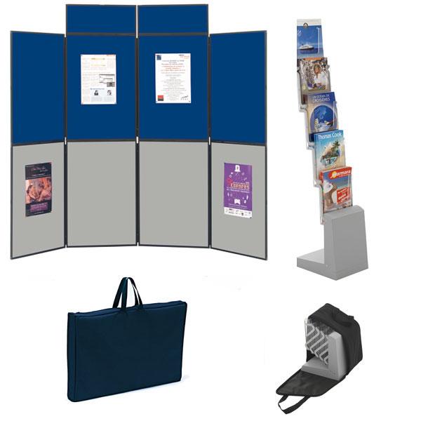 Utilisation pour votre communication et vos expositions. Affichage double-face Composé du stand de8 panneaux 90 x 60 cm