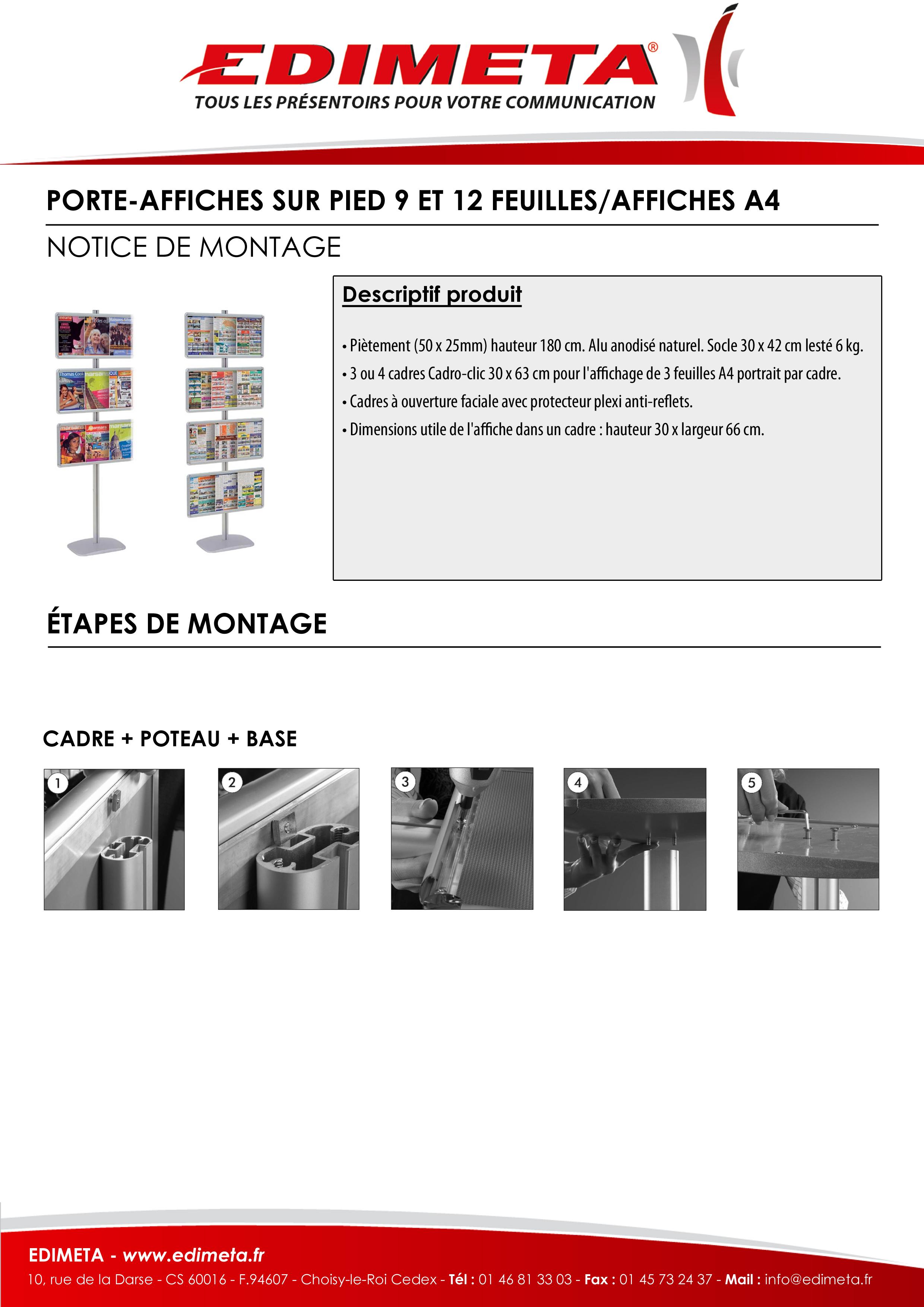 NOTICE DE MONTAGE : PORTE-AFFICHES SUR PIED 9 ET 12 FEUILLES/AFFICHES A4