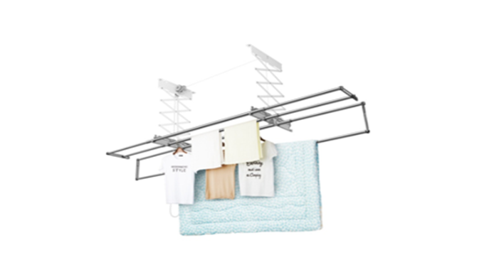 Pulley system ceiling mounted laundry drying rack. The bars are detachable, so larger laundry such as duvet and curtain