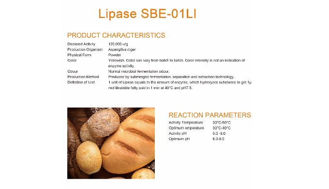 Introduction: Sunson® SBE-01Li is a lipase which made from a fungal strain through cultivation and extraction technique.