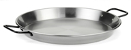 paella pan in stainless steel, polished or enameled. Non stick, withthermodiffuser bottom,multi-function andinducttio