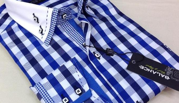 Double de haute qualité collier chemises pour hommes avec garniture.....