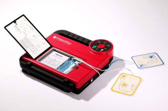 HeartPlus NT-180 is a compact, portable device that analyses the heart's rhythm and delivers a defibrillation shock to r