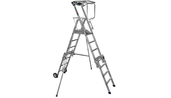 Plate-forme aluminium télescopique qui offre la possibilité de travailler à 4 hauteurs différentes. -4 hauteurs de trava