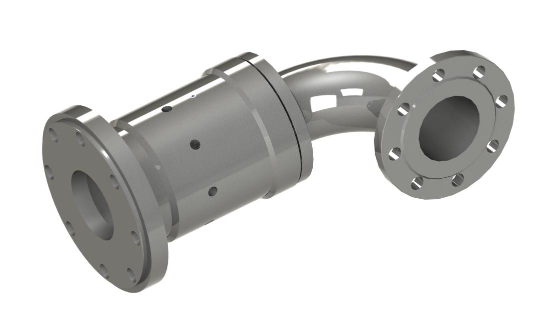 Drehdurchführung mit Vollflanschgehäuse, Faltenbalgpatrone für universellen Einsatz Produkteigenschaften: einfache Zu- o