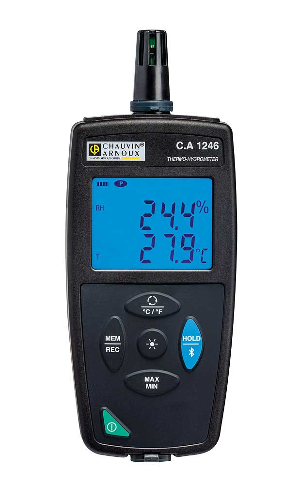 The C.A 1246 is a 3-in-1 instrument for measuring relative humidity, ambient temperature and the dew point. Equipped wit