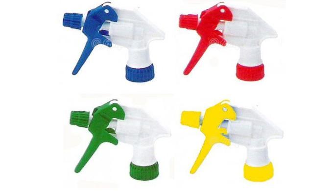 Tex-Spray Blanc / Bleu avec buse ajustable de brouillard à jet droit. Excellente résistance aux produits chimiques. Fonc