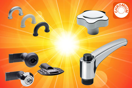 Chrome plated elements from Elesa - lobe knobs, adjustable handles, latches and finger handles