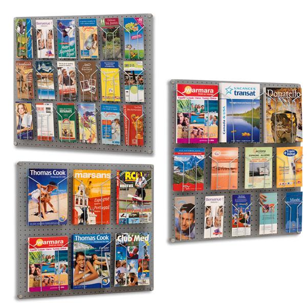 Composez vous-même votre présentoir en fonction de vos formats de brochures! Panneau métallique mural à fond perforé. Di