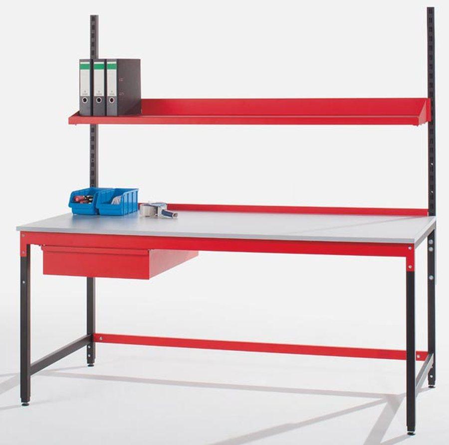 Komplett-Packstation mit Stahlschublade Modular aufgebautes Packtischsystem Komponenten an Tisch adaptierbar Als fertige