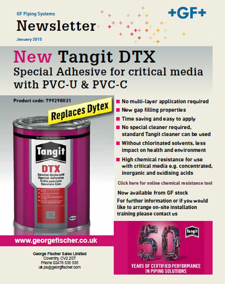 New Tangit DTX Special Adhesive for critical media with PVC-U & PVC-C - January 2016