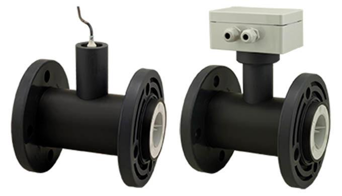Messbereich: 0.2 - 5 l/min ... 2.5 - 100 m⊃3&#x3b;/h Wasser Anschluss: Flansch DN25 ... DN100 Material: PVC, PVDF pmax: PN10
