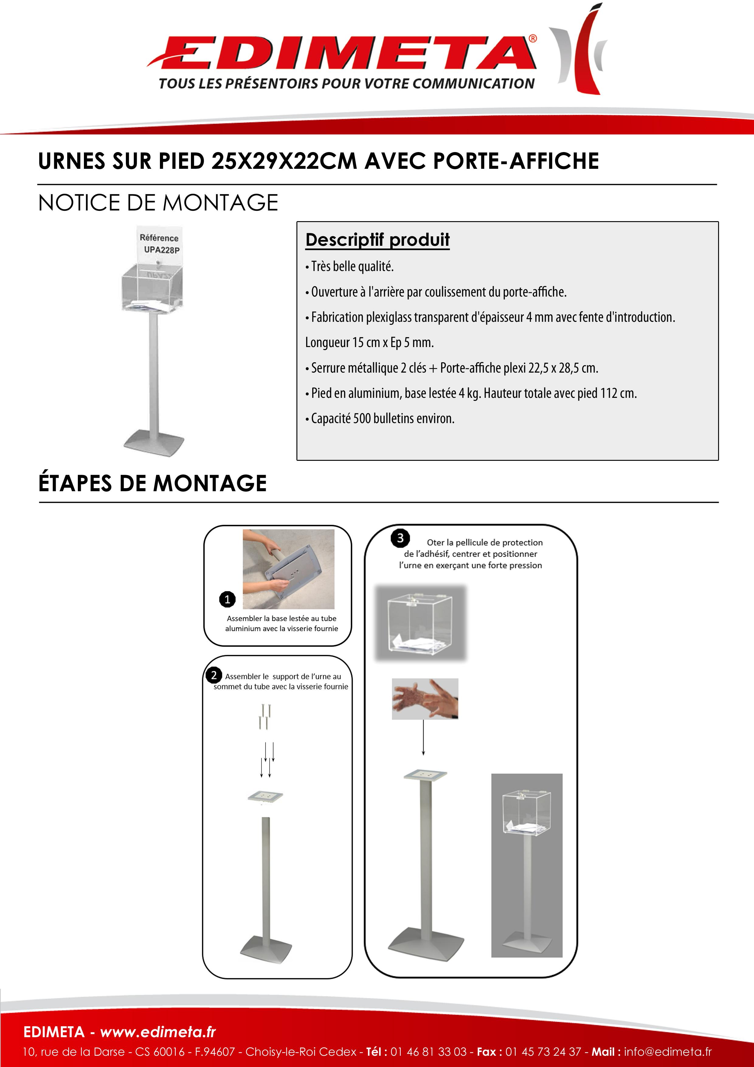 NOTICE DE MONTAGE : URNES SUR PIED 25X29X22CM AVEC PORTE-AFFICHE