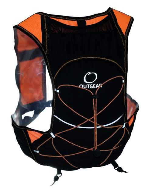 light weight hydration race vest with refelctive logo. Two easy access front bottle pockets. Rear external shock cord fo