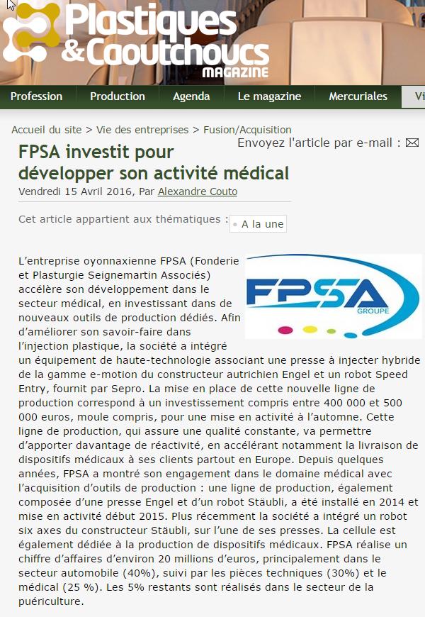 FPSA investit pour développer son activité médical