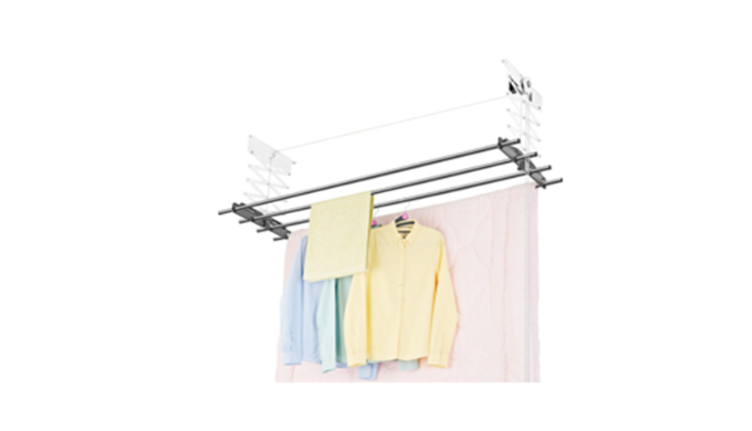 Pulley system ceiling mounted laundry drying rack. Convenient using, easy intallation The bar is divided into three part