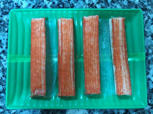 Imitation crab stick is very soft, juicy and mild texture.