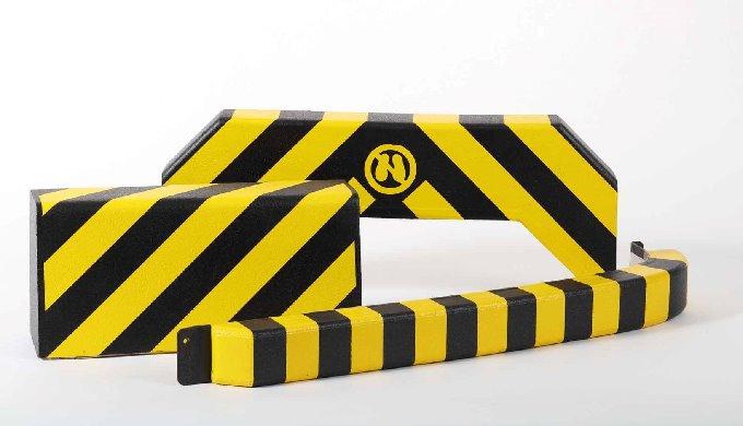 Safety Bumper sind aktive Prallkissen aus verhautetem, weichem Polyurethan-Schaumstoff mit integrierter Sicherheitsabsch