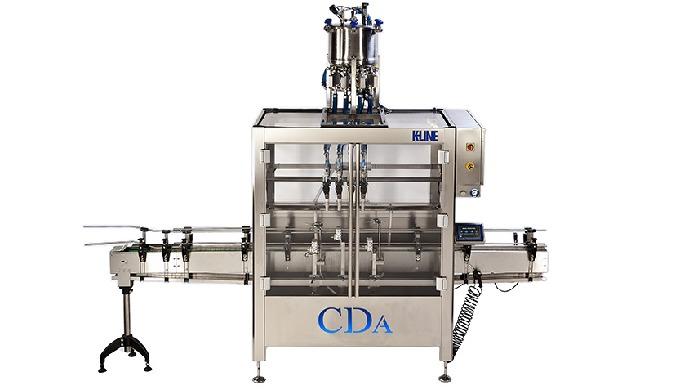 Conçue par CDA, la K-Line est une remplisseuse et visseuse automatique, qui permet le conditionnement de moyennes et gra