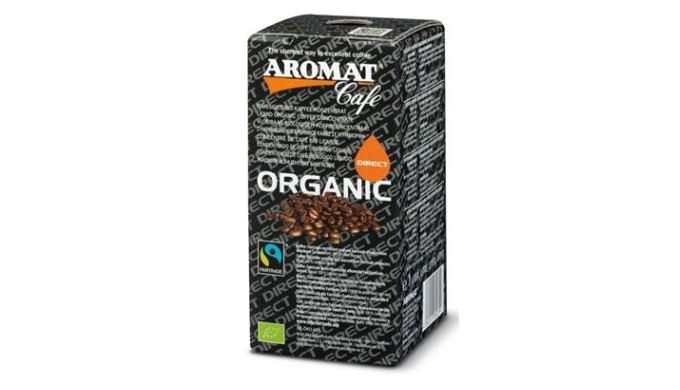 Shelf stable liquid organic coffee concentrate for use in a commercial liquid coffee machine for making any quantity of