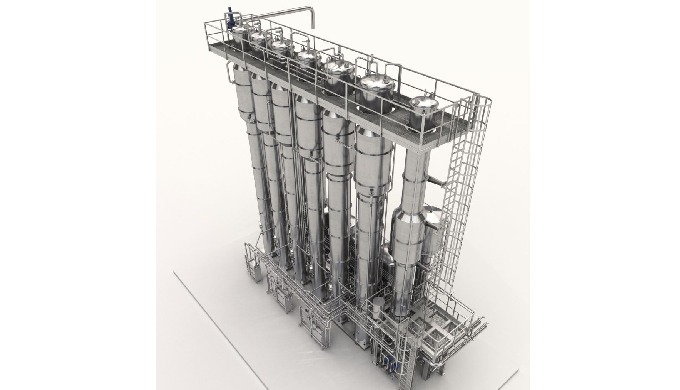 Falling film evaporator with the possibility of changing the capacity mode.