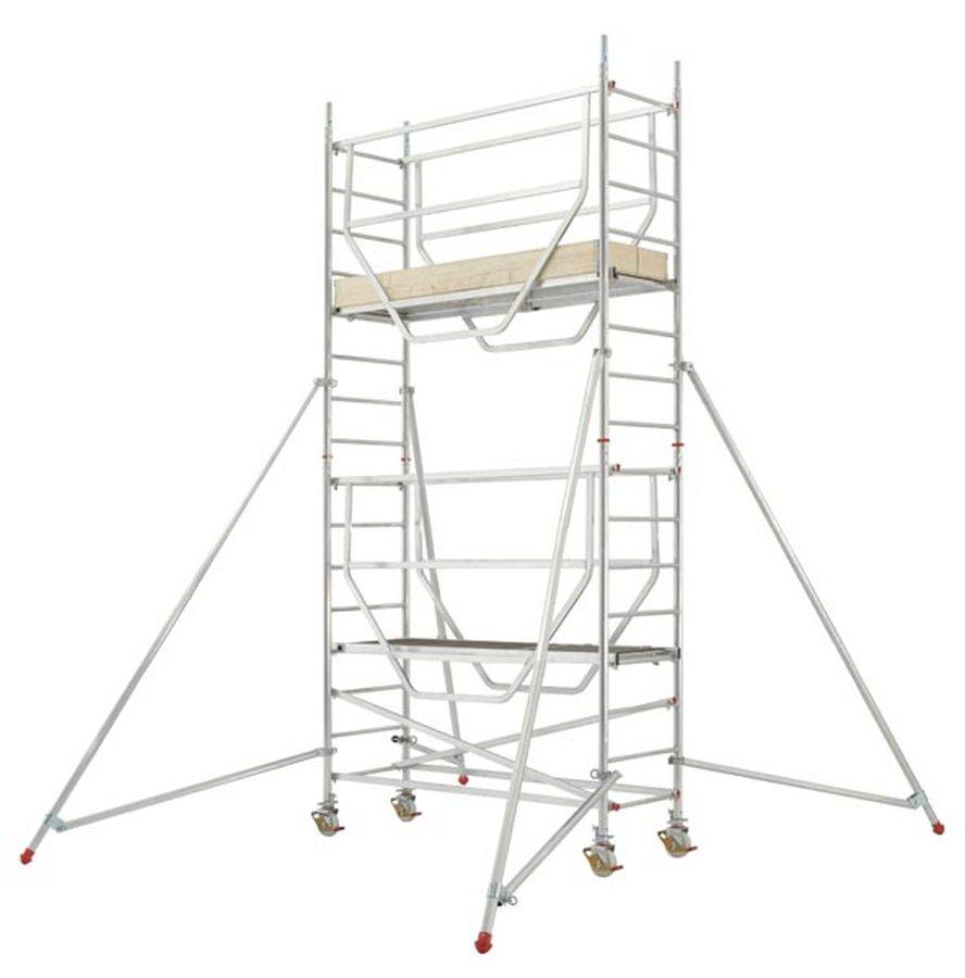 Plattformen können – vor dem Betreten – von unten mit Geländern gesichert werden Schließt die Lücke zwischen Leiter und