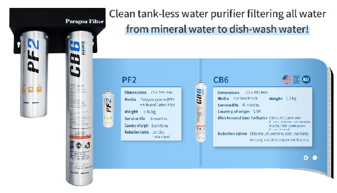 Clean tank-less water purifier filtering all water from mineral water to dish-wash water! PF2(pre-filter) dimentions 72x