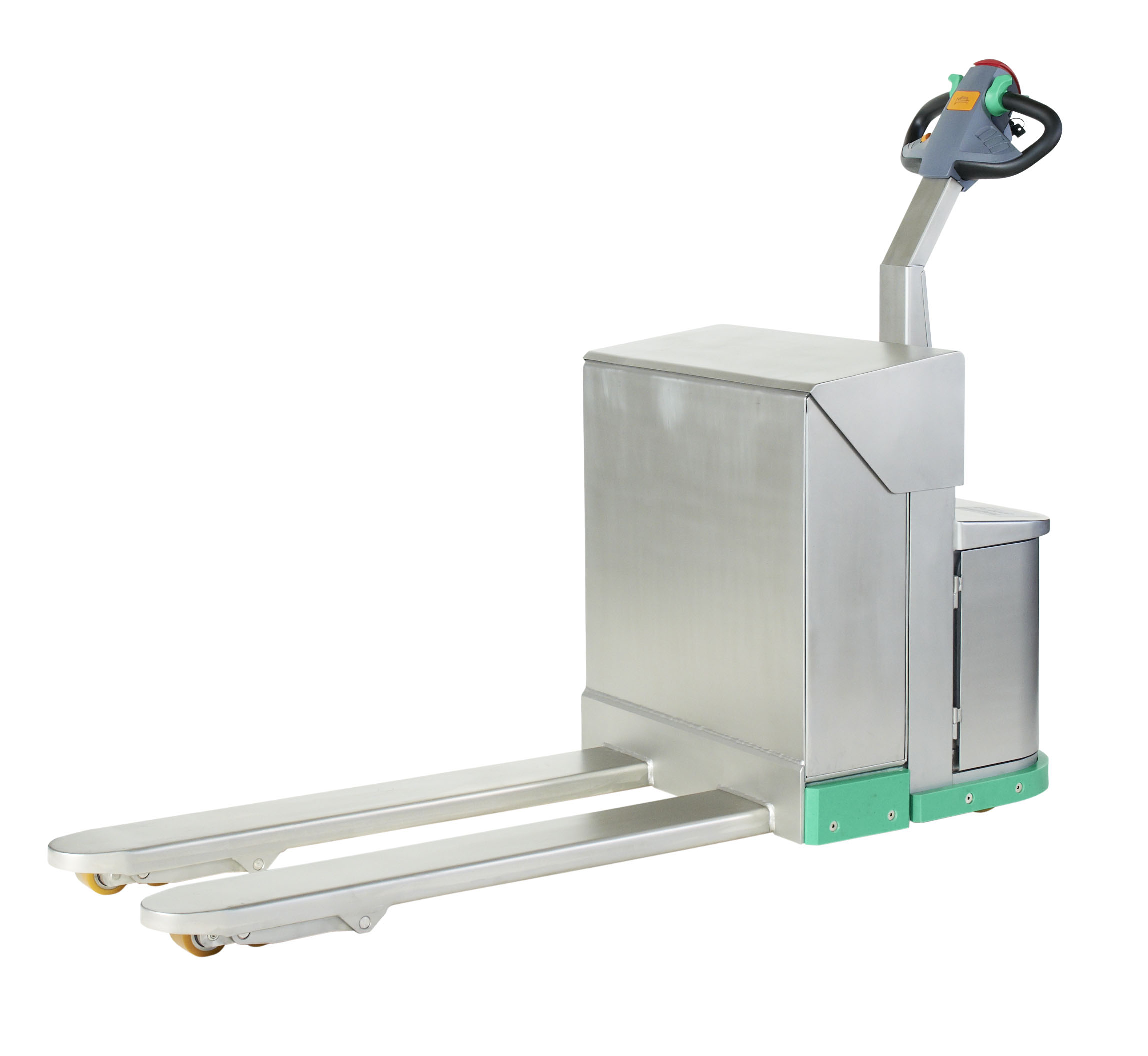 Edelstahl-Elektro- und Gabelhubwagen speziell für den Dauereinsatz in der Fleisch- und Lebensmittel-, Chemie- und Pharma
