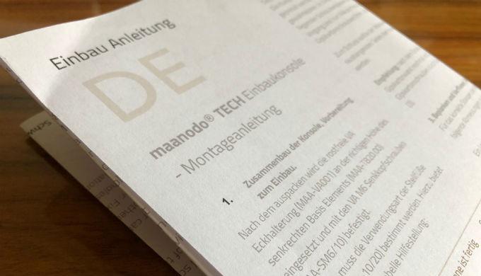 Einbau Anleitung in drei Sprachen