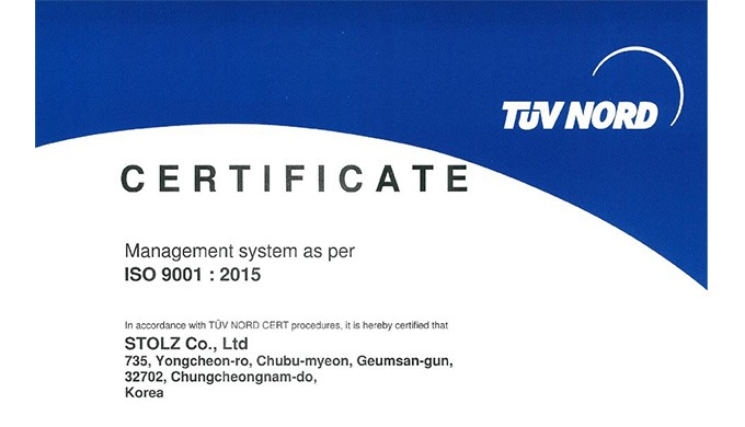 Stolz brake TUV NORD ISO9001 Certification
