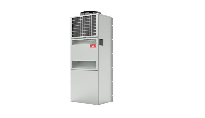 Precision air conditioner for outdoor installation in telecommunications containers.