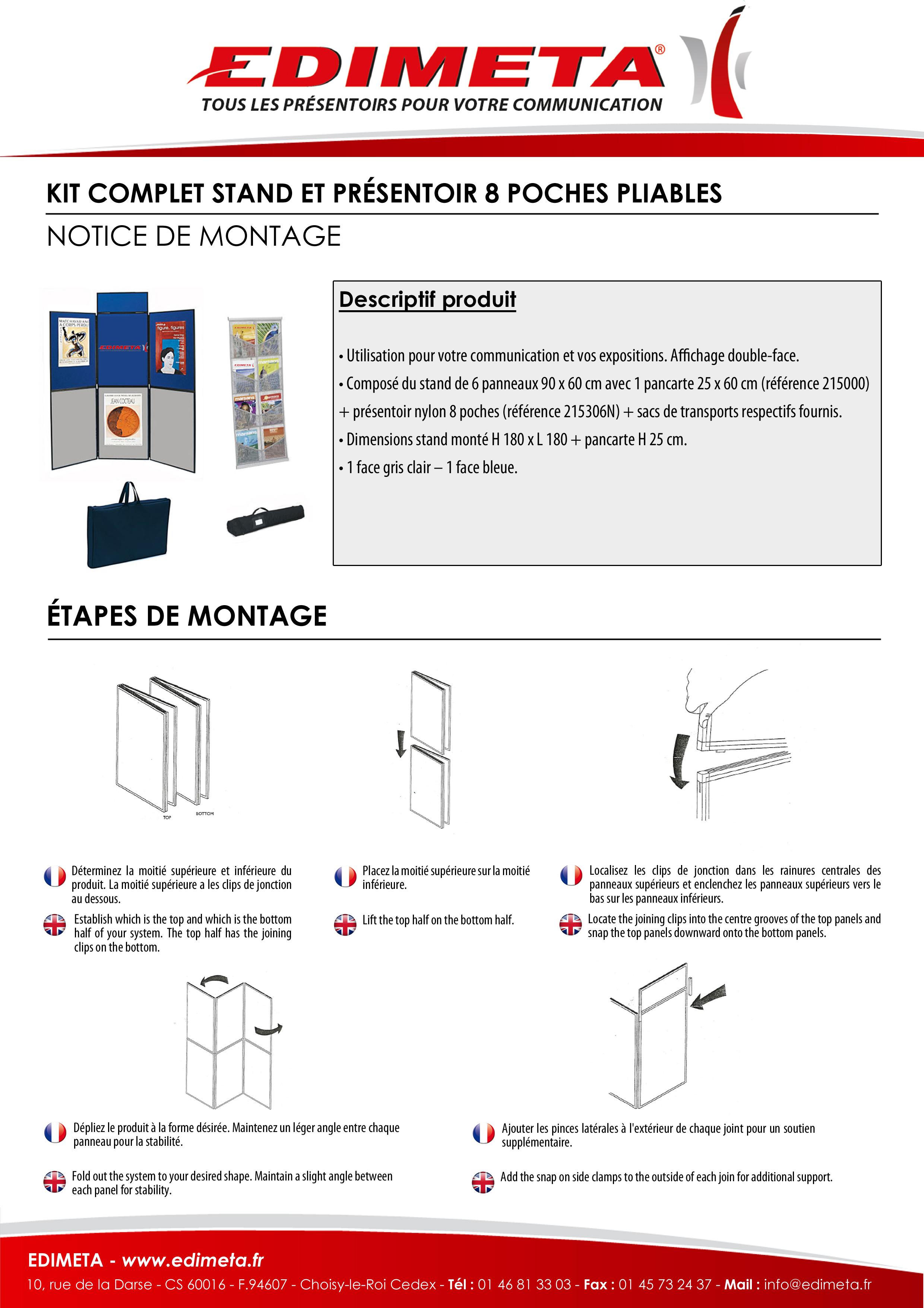 NOTICE DE MONTAGE : KIT COMPLET STAND ET PRÉSENTOIR 8 POCHES PLIABLES