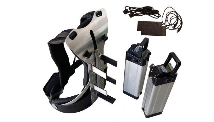 kit 24 Volts pour l'alimentation de la brosse rotative RB24, constitué : - d'un sac à dos coqué alu, très ergonomique et