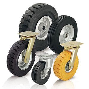 Schwerlasträder und Schwerlastrollen mit zähhartem, stahldrahtarmiertem Reifenfuß. Als weitere Variante ist ein 3-Kompon