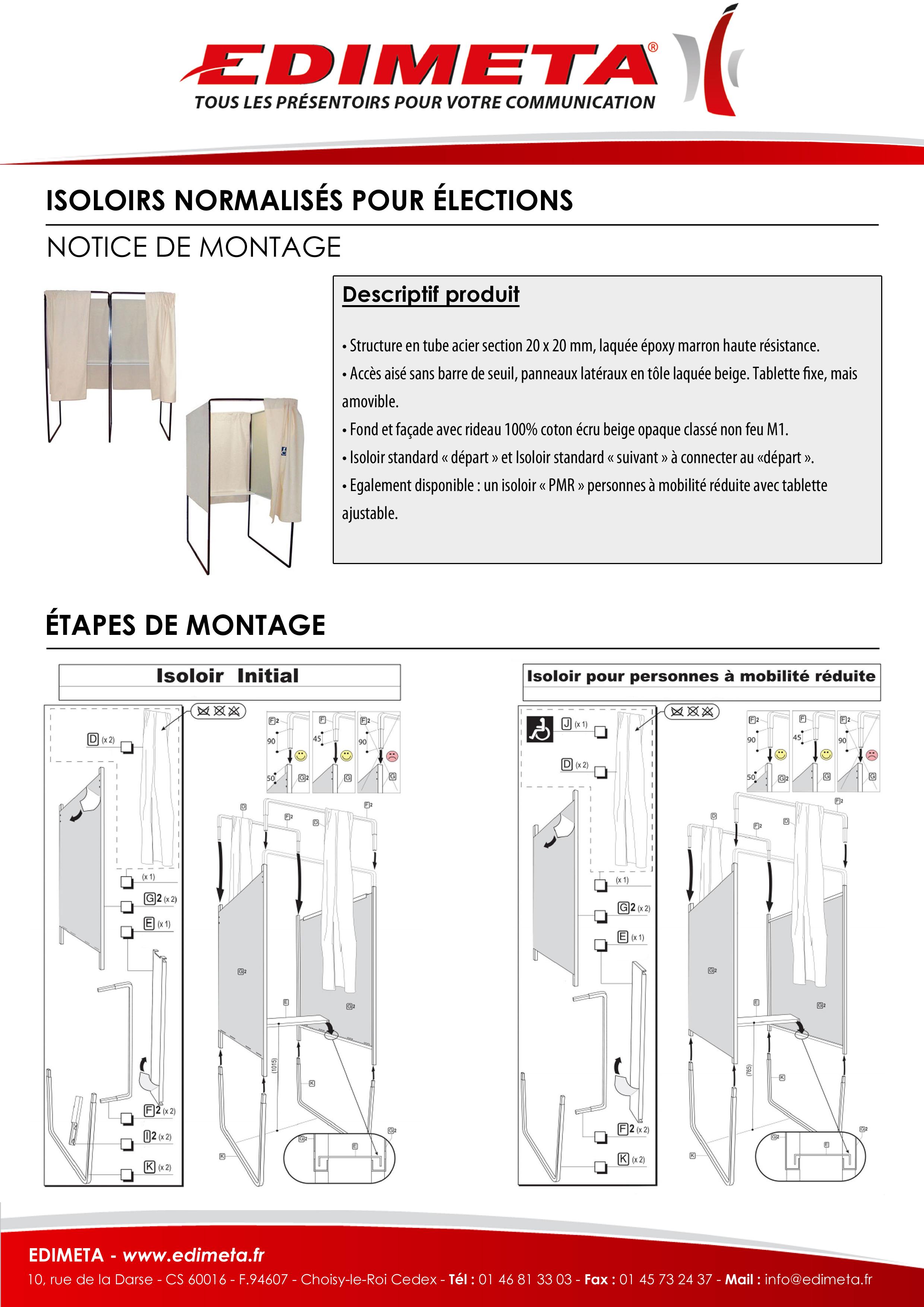 NOTICE DE MONTAGE : ISOLOIRS NORMALISÉS POUR ÉLECTIONS