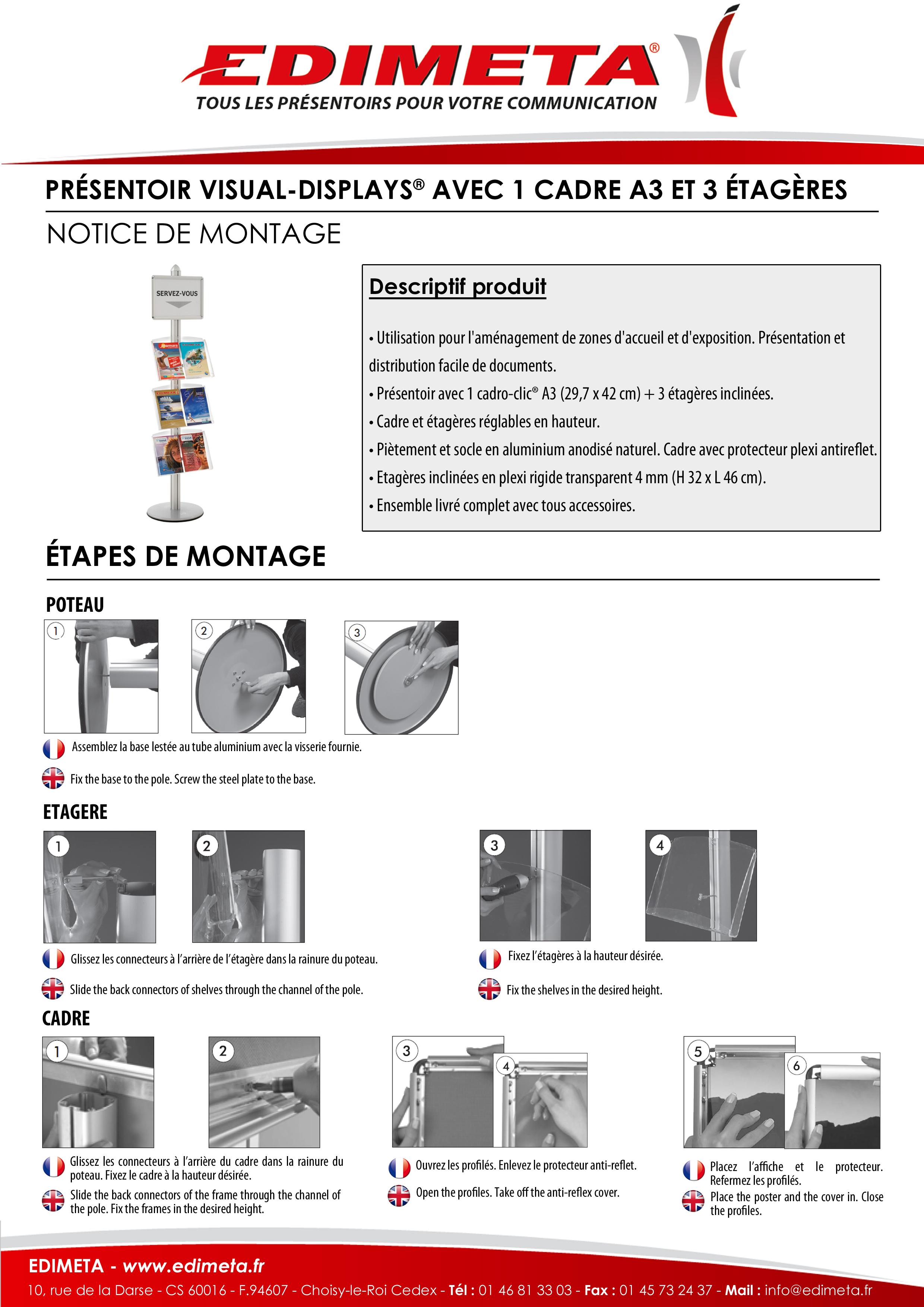 NOTICE DE MONTAGE : PRÉSENTOIR VISUAL-DISPLAYS® AVEC 1 CADRE A3 ET 3 ÉTAGÈRES