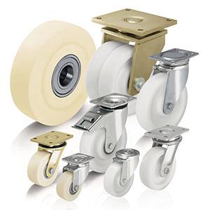 Schwerlastrollen und Schwerlastäder aus Polyamid oder hochverdichtetem Guss-Polyamid. Die Gehäuse für die Schwerlastroll