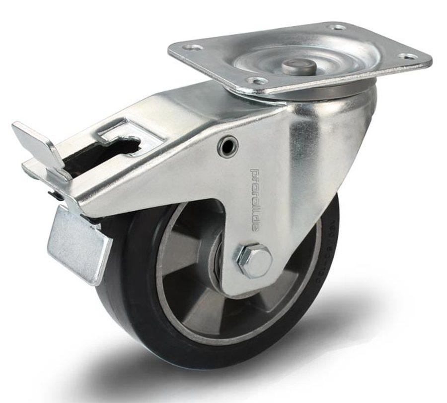 Rad-Ø x Breite 160 x 50 mmGehäuse Stahlblech verzinkt, Schwenklager mit doppeltem Kugelkranz, Schwenklagerschutz. Lauffl