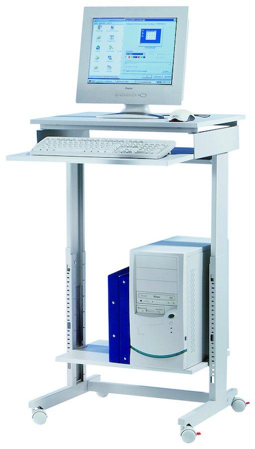 Sitzend oder stehend arbeiten Höhenverstellbar von 720 – 1100 mm Gestell aus stabilen Stahlprofilen. Tischplatte aus ref