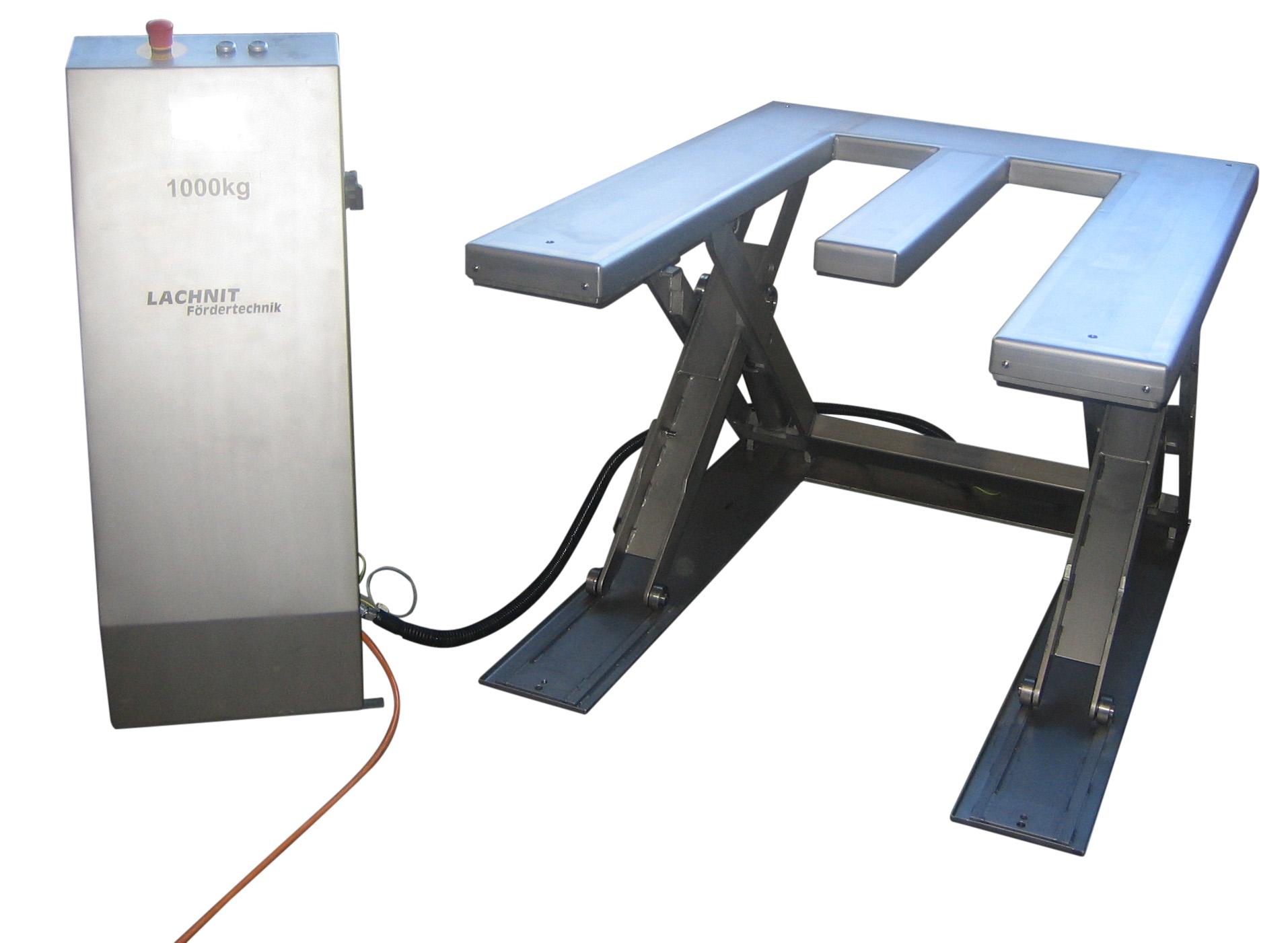 Wir bieten ultra-flacheScherenhubtische in Edelstahl zur Integration in bestehende Förderanlagen oder als Element zur E
