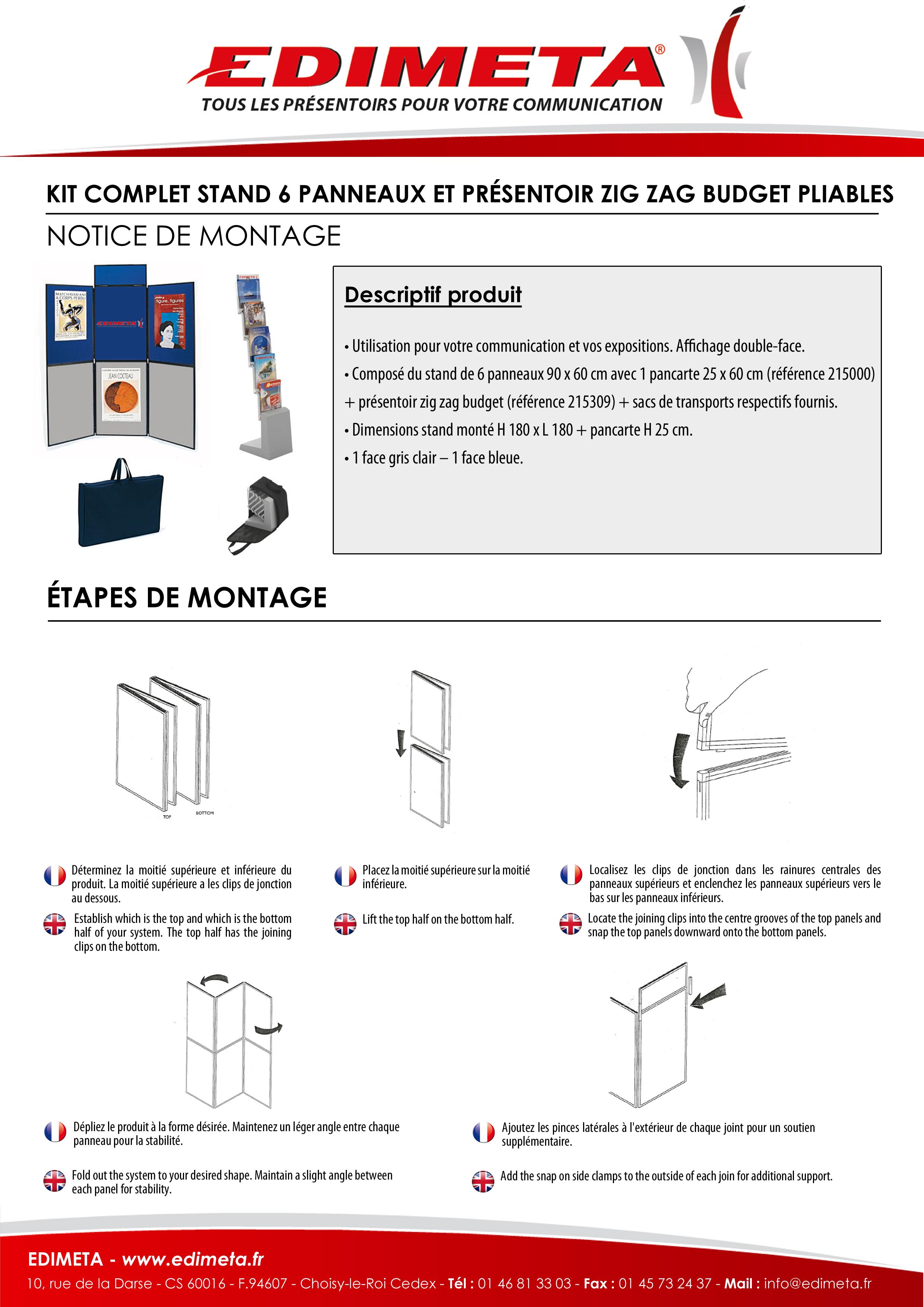 NOTICE DE MONTAGE : KIT COMPLET STAND 6 PANNEAUX ET PRÉSENTOIR ZIG ZAG BUDGET PLIABLES