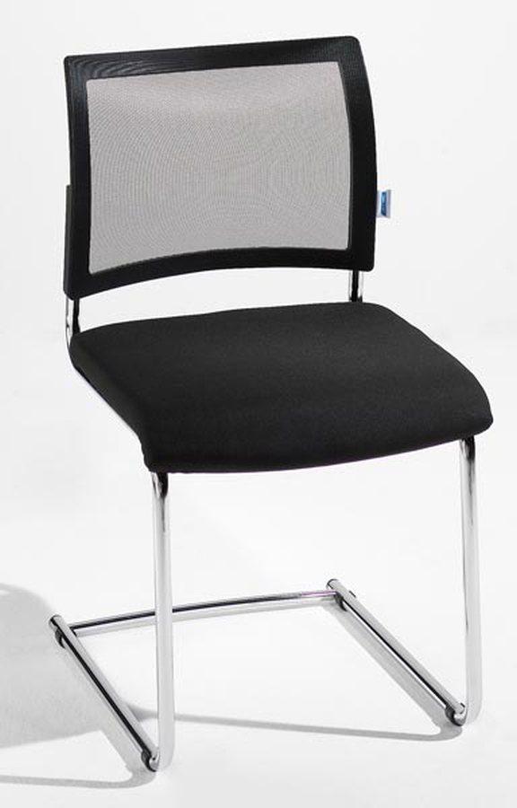 div. FarbenEleganter Besucherstuhl mit Schwingergestell aus Rundrohrstahl, verchromt. Bequem gepolsterter Flachsitz mit